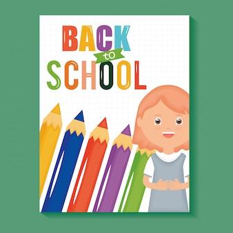 Обратно в школу. милая маленькая студентка с цветными карандашами
