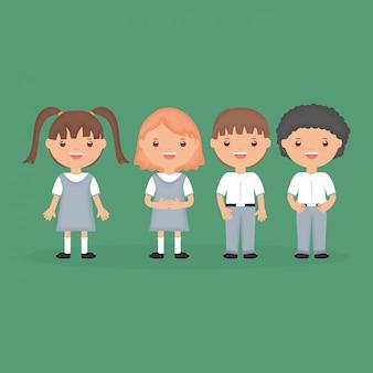 学校に戻る。かわいい小さな学生グループキャラクター