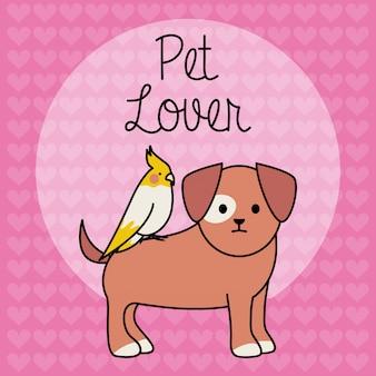 鳥の愛らしいマスコットキャラクターと小さな犬