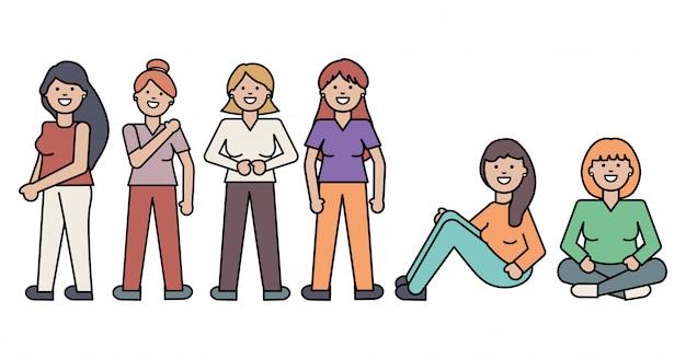 女性アバターのキャラクターのグループ