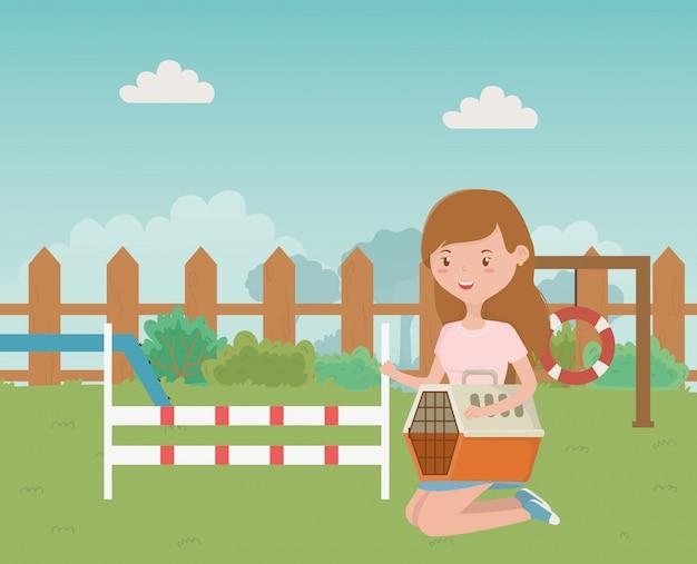 マスコットと女の子の漫画デザインのための公園