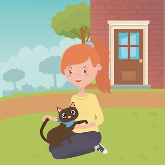 猫漫画デザインの女の子