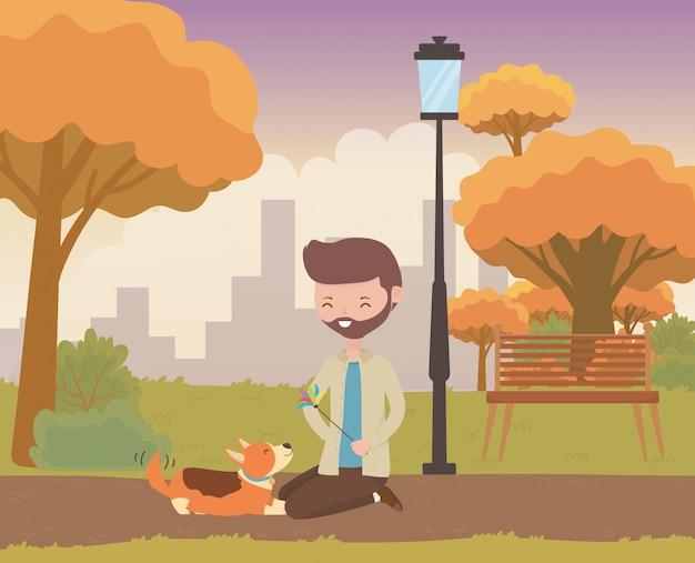 Мальчик с собакой мультяшный дизайн