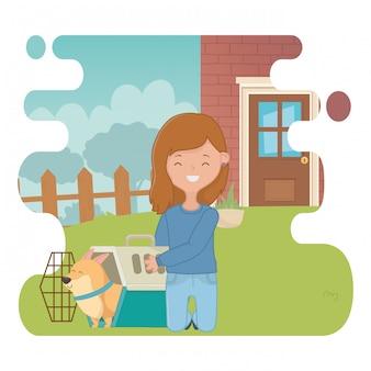 Девушка с дизайном мультфильм собака