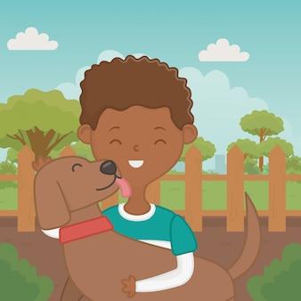 犬漫画デザインの少年