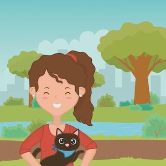 Девушка с дизайном кота