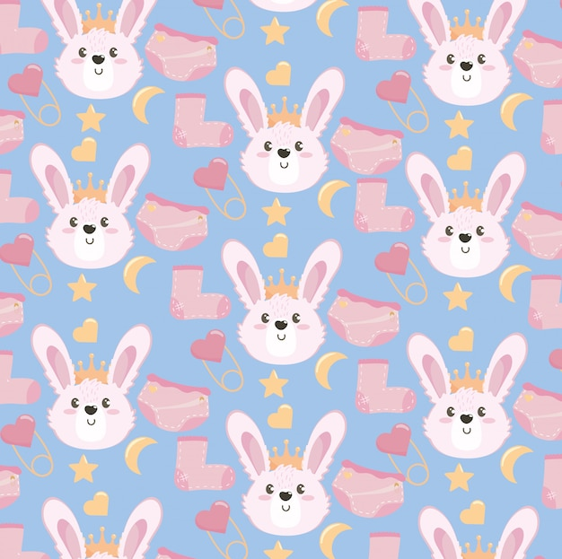 靴下とおむつのパターンを持つかわいいウサギの頭
