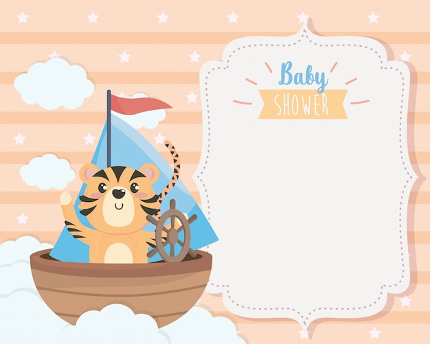 船と雲の中のかわいい虎のカード