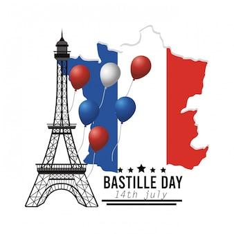 Карта франции с украшением эйфелевой башни и воздушными шарами