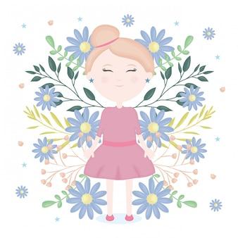 花飾り文字とかわいい女の子