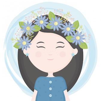 髪の文字で花の冠を持つかわいい女の子