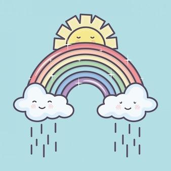 かわいい夏の太陽と虹かわいい雨の文字の雲