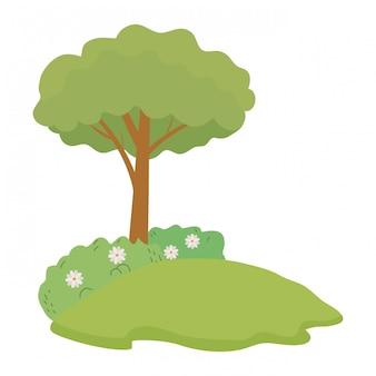 孤立した抽象と季節の木
