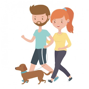 男の子と女の子が犬を連れたカップル