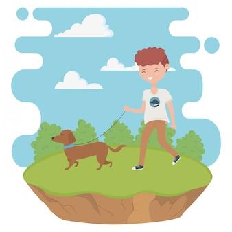 犬の漫画を持つ少年