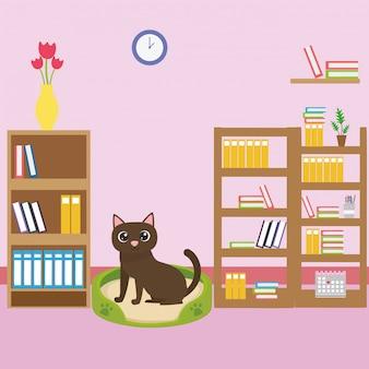 教室での漫画の猫