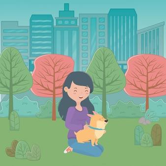 漫画の犬を持つ少女