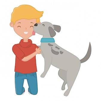 漫画の犬を持つ少年