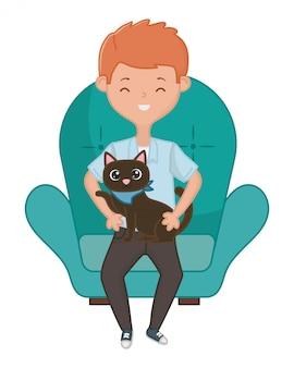 漫画の猫を持つ少年