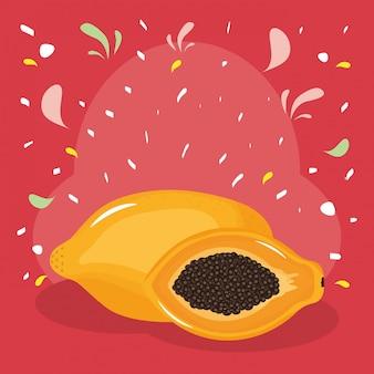 紙吹雪スプラッシュと新鮮なパパイヤのエキゾチックなフルーツ