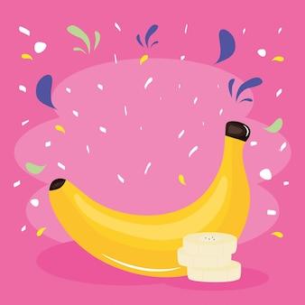 Свежие банановые тропические фрукты с всплеск конфетти