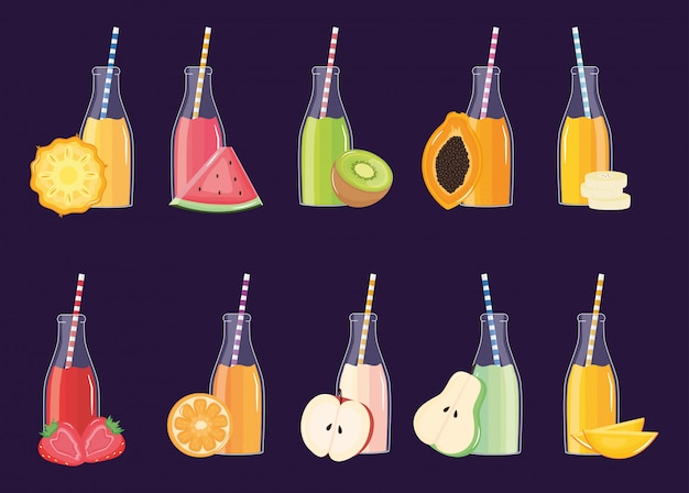 Свежие и тропические соки фруктов в бутылках с соломкой