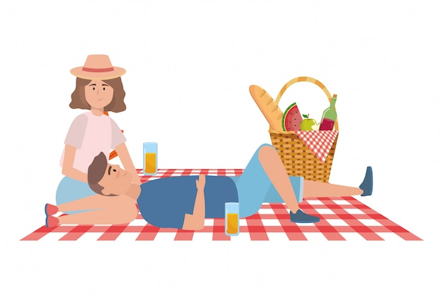 Пара женщина и мужчина, пикник
