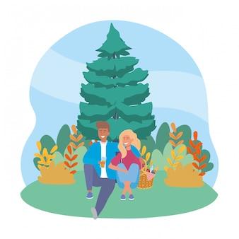 女と男のピクニックを持っているカップル