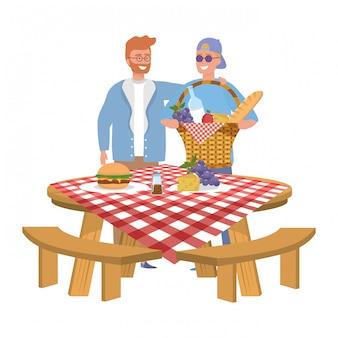 ピクニックをしている男性の友達