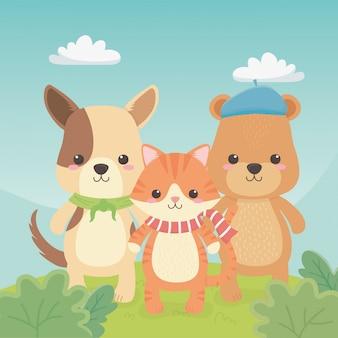 Милые и маленькие животные в поле персонажей