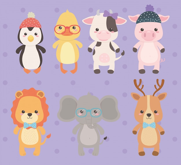 Милые и маленькие животные персонажи