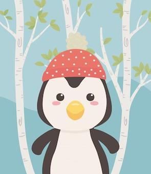 Милый и маленький пингвин в поле