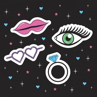 Мода девушка набор иконок в стиле поп-арт