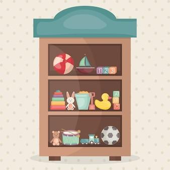 Детские игрушки в стеллажах деревянные