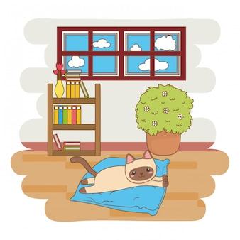 漫画イラスト、枕の上に横たわる猫