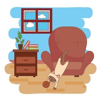 リビングルームでウールのボールで遊ぶ猫