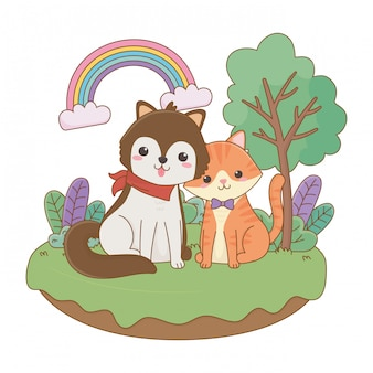 猫と犬の漫画クリップアートイラスト