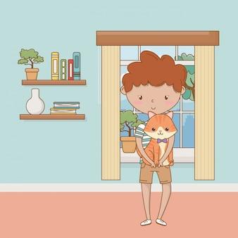猫漫画デザインの少年