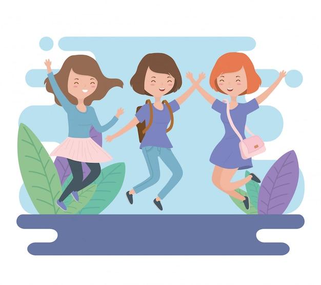 フィールドでジャンプを祝う幸せな若い女性