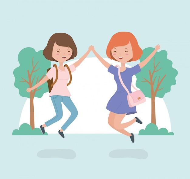 森林景観におけるジャンプを祝う幸せな若い女性