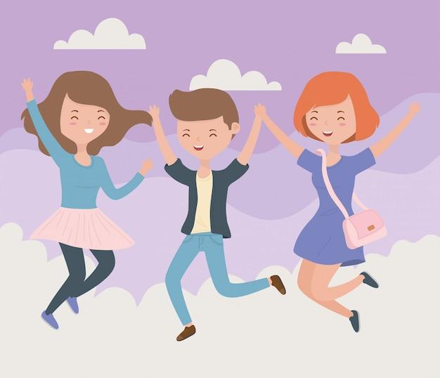 空のシーンでジャンプを祝う幸せな友達