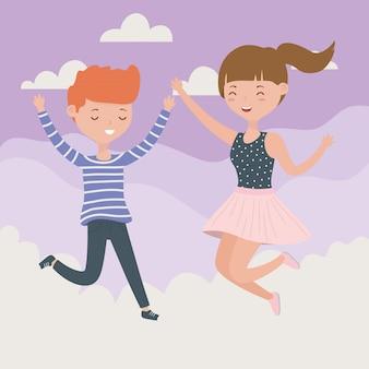 Счастливая пара празднует прыжки в небе