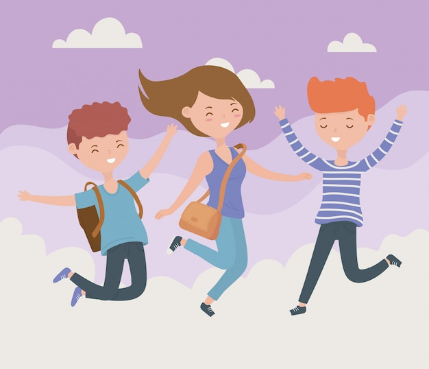 Счастливые друзья празднуют прыжки в небе