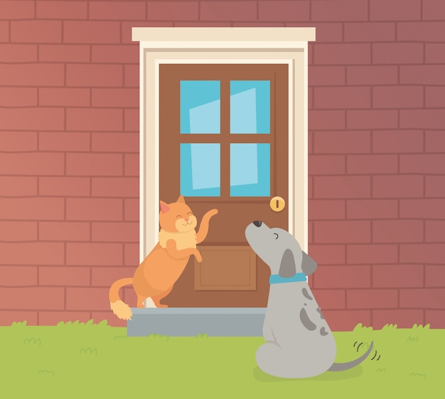 Симпатичные маленькие собаки и кошки талисманы в саду дома