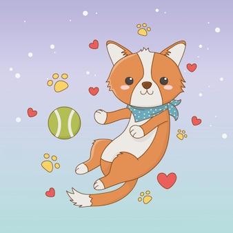 ボールのおもちゃでかわいい犬マスコット