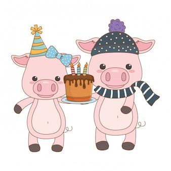 お誕生日おめでとうケーキと動物漫画