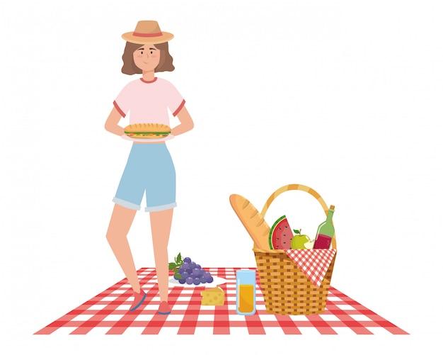 Мультфильм женщина, пикник