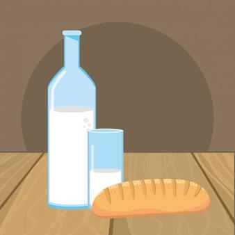 Изолированный хлеб и молоко