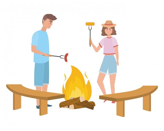 女とピクニックを持つ男のカップル