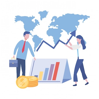 ビジネスマンやビジネスウーマンのデザインのベクトル図